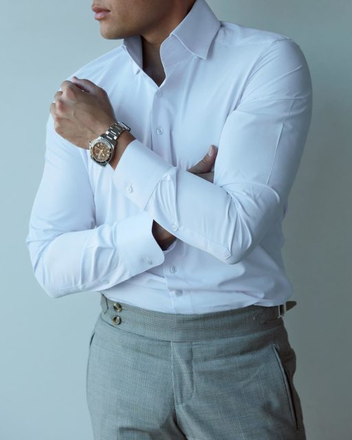 Shop our perfect white shirt - Breathable easy care and tailored to your perfect fit using our THDR Pocket Tailor App 🔥